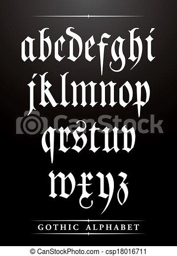 vetorial, alfabeto, fonte, gótico, tipo - csp18016711