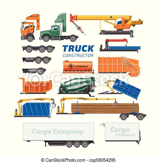 vetorial, carga, jogo, transporte, logistic, construtor, isolado, ilustração, trucking, entrega, concreto, construção, caminhão, misturador, fundo, veículo, branca, ou, transporte - csp58054295