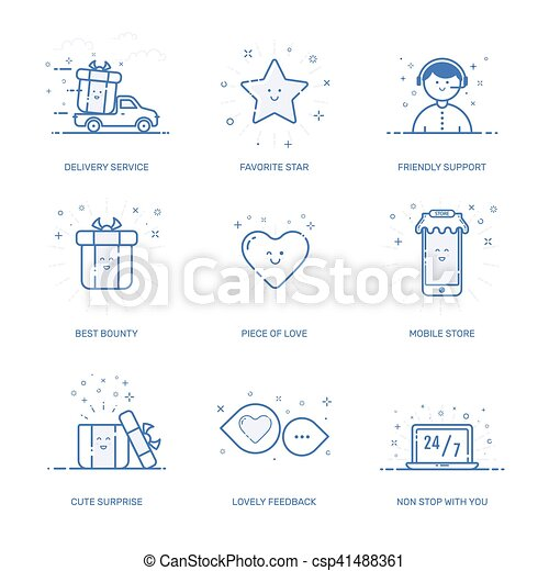 vetorial, conceito, shopping, negócio, marketing, ícones, ilustração, jogo, linha, style., comércio - csp41488361