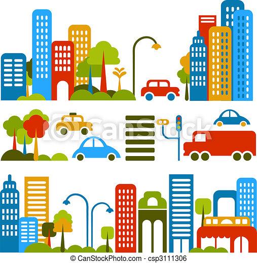 vetorial, cute, rua, ilustração, cidade - csp3111306