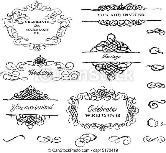 vetorial, desenhado, jogo, ornamento, mão - csp15170419