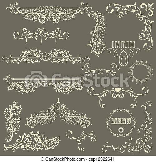 vetorial, elementos, desenho, lacy, vindima - csp12322641