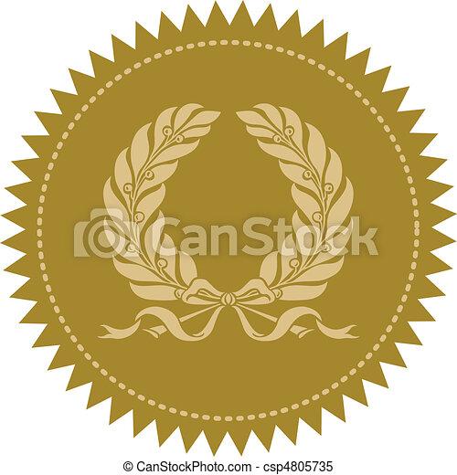 vetorial, grinalda, selo ouro - csp4805735