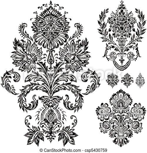 vetorial, jogo, ornamento, damasco - csp5430759