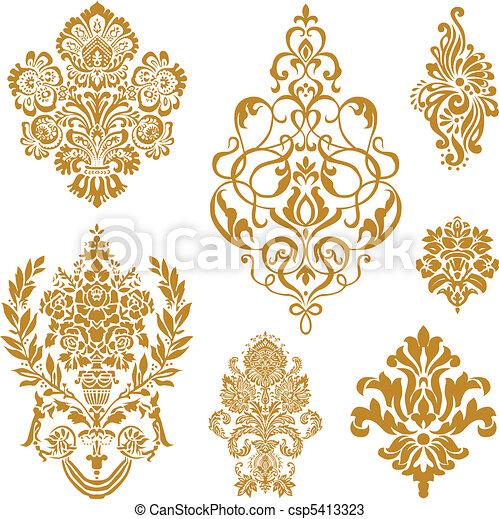 vetorial, jogo, ornamento, ouro, damasco - csp5413323