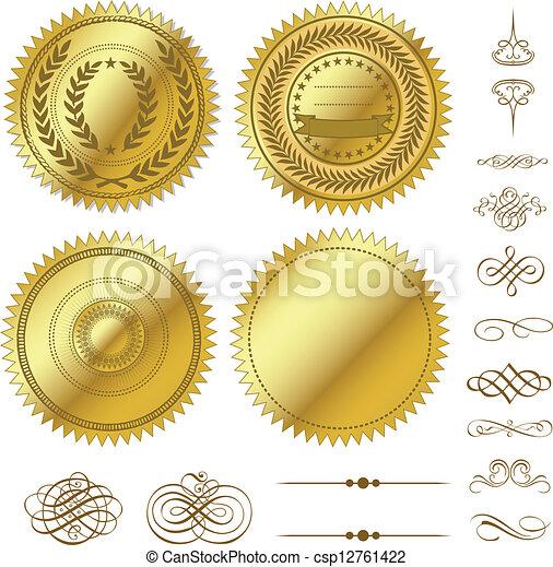 vetorial, jogo, ouro, selos - csp12761422