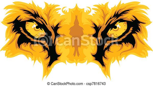 vetorial, leão, olhos, mascote, gráfico - csp7816743