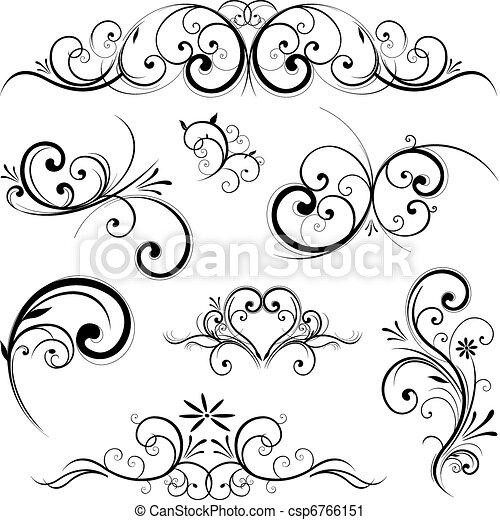 vetorial, ornamento, scroll - csp6766151