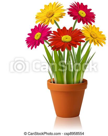 vetorial, primavera, flores frescas, cor - csp8958554