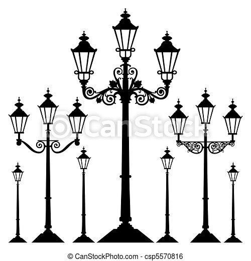 vetorial, retro, luz rua - csp5570816
