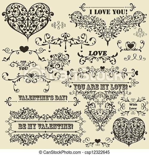 vetorial, valentine, elementos, desenho, vindima - csp12322645