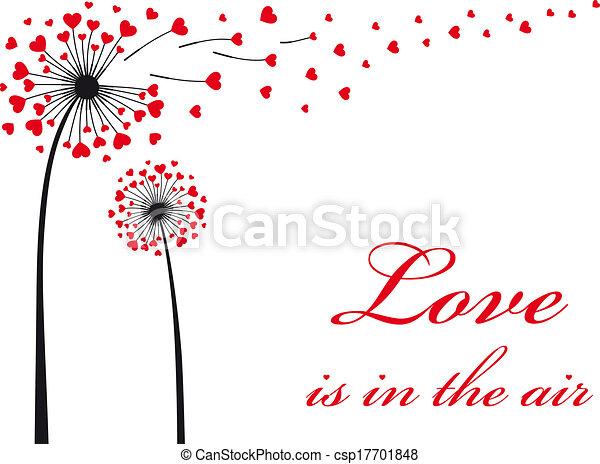 vetorial, vermelho, corações, dandelion - csp17701848
