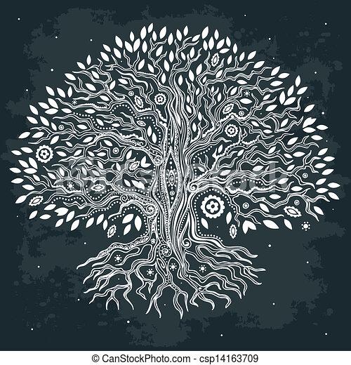 vida bonita, vindima, árvore, mão, desenhado - csp14163709