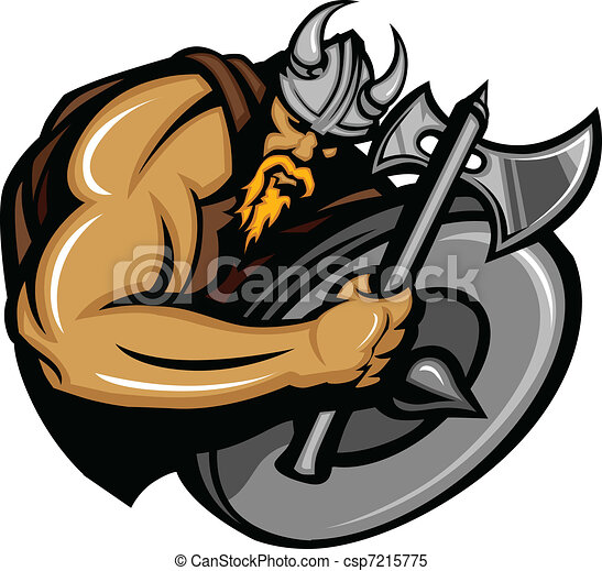 viking, norseman, caricatura, mascote - csp7215775