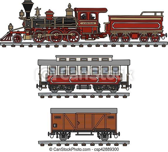 vindima, americano, trem, vapor - csp42889300