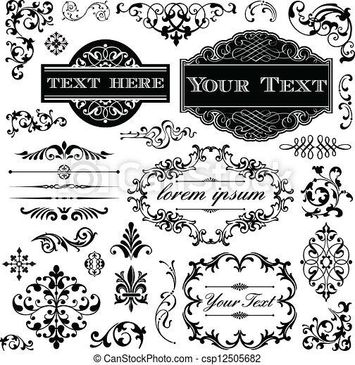 vindima, caligrafia, jogo, ornamento - csp12505682