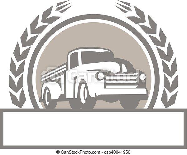 vindima, cima, caminhão, retro, pico, círculo - csp40041950