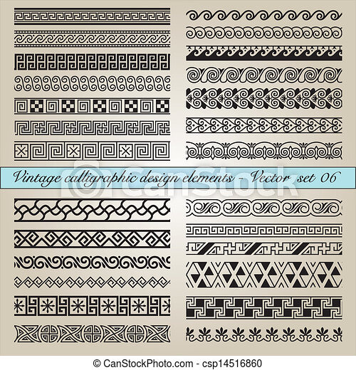 vindima, elementos, desenho, calligraphic - csp14516860
