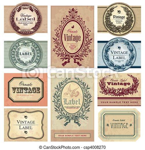 vindima, etiquetas, jogo, (vector) - csp4008270