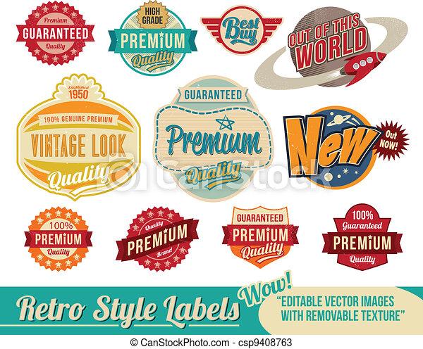 vindima, etiquetas, retro, etiquetas - csp9408763