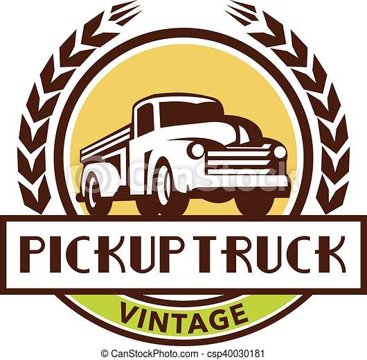 vindima, grinalda, cima, caminhão, retro, pico, círculo - csp40030181