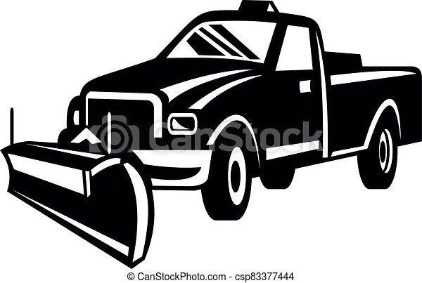 vista, neve, lado, retro, branca, pretas, caminhão, arado, pick-up - csp83377444