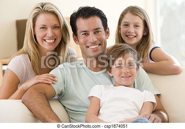 vivendo, sorrindo, sala, família, sentando - csp1874051