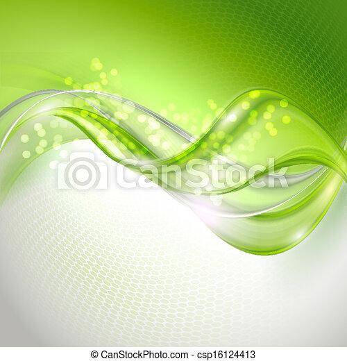 waving, abstratos, experiência verde - csp16124413