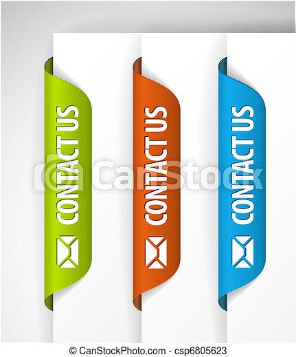 (web), etiquetas, nós, borda, contato, /, adesivos, página - csp6805623