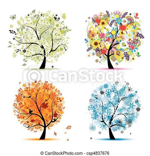 winter., bonito, arte, primavera, outono, -, árvore, quatro, desenho, estações, seu, verão - csp4837676