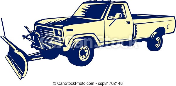 woodcut, caminhão, arado, neve - csp31702148