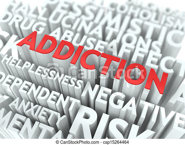 wordcloud, concept., addiction. - csp15264464