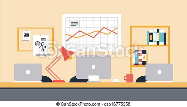 workspace, colaboração, escritório, ilustração - csp16775358