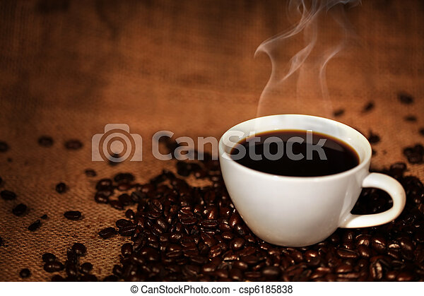 xícara café, feijões, assado - csp6185838